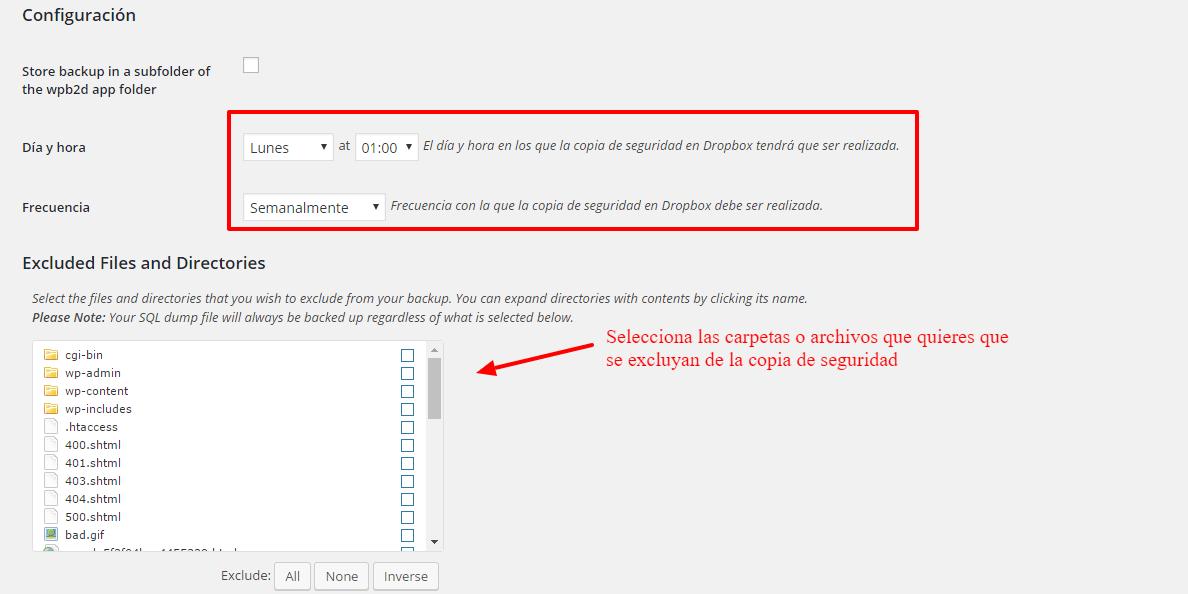 Cómo configurar WordPress Backup to Dropbox